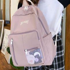 HOVERUP - Letter Embroidered Zip Backpack