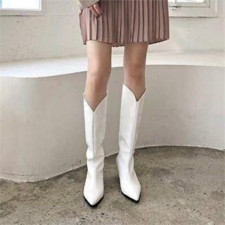 MONOBARBI - Pointy-Toe Cone-Heel Long Boots