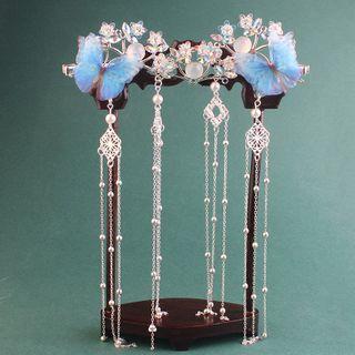 Fenix - Floral Hair Clip / Butterfly Dangle Hair Clip / Set
