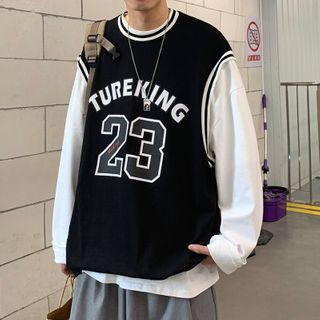JUN.LEE - Inset Printed Tank Top Long-Sleeve T-Shirt