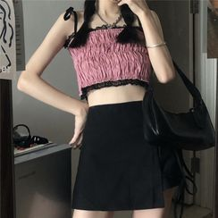 merryberry - Lace Trim Shirred Cropped Camisole Top / Lace-Up Mini A-Line Skirt