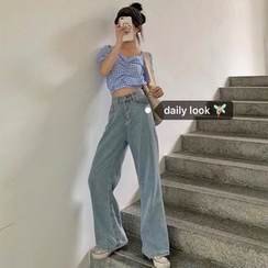 Miss Allurie - Checked Short-Sleeve Cropped Top/High-Waisted Wide-Leg Jeans