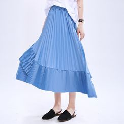 Ultra Modern - Tiered Midi A-Line Skirt