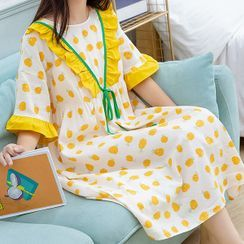 YICON - Short-Sleeve Pineapple Print Pajama Dress