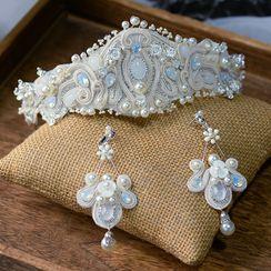 Ashmi(アシュミ) - Beaded Wedding Crown / Drop Clip-On Earring