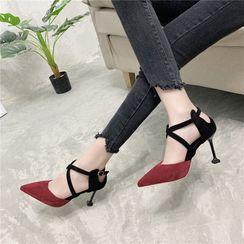 Beatrix - Pointy-Toe Cross Strap Stiletto Heel Sandals