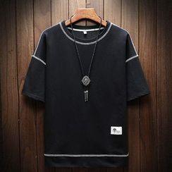 Ferdan - 短袖配色飾縫線T裇