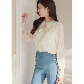 Styleonme(スタイルオンミー) - Faux-Pearl Frilled Lace Blouse