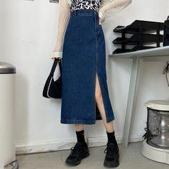KARLY - Midi A-Line Denim Skirt