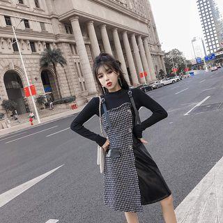 Romantica - 套裝: 長袖小高領針織上衣 + 扣子帶仿皮拼接A字連衣裙