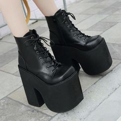 Anran - Platform Lace-Up Short Boots