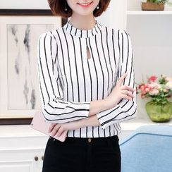 In the Mood - Pinstripe Long-Sleeve Blouse