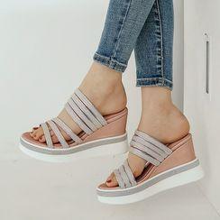 Megan - Platform Wedge Strappy Slide Sandals