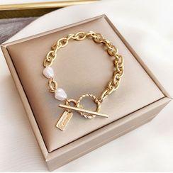 True Glam - 仿珍珠粗链条手链