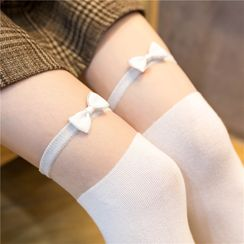 Gentiana - Bow Accent Over the Knee Socks