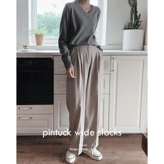 SIMPLY MOOD - Pintuck Wide-Leg Pants