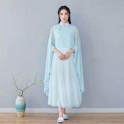 Celeste - 七分袖中式领雪纺连衣中裙
