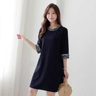 CLICK - Elbow-Sleeved Shift Dress