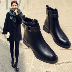 Belbie - Faux Leather Block-Heel Ankle Boots