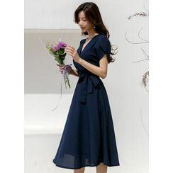 Styleonme(スタイルオンミー) - Petal-Sleeve Long Flare Dress with Sash