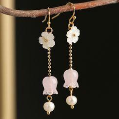 Kanzashi - Faux Pearl Flower Drop Earring