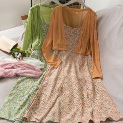 Lemongrass - 短款单排扣薄针织上衣 / 碎花吊带连衣中裙