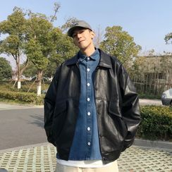 Diphon - Faux Leather Button-Up Jacket