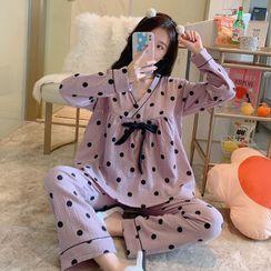 Mamaladies(ママレディーズ) - Maternity Pajama Set: Dotted Top + Pants
