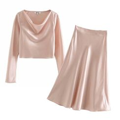 Indesi - Set: Silky Blouse + Midi A-Line Skirt