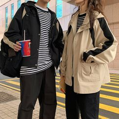 Soulcity - Couple Matching Color Block Hooded Zip Jacket