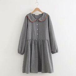 TOJI - Long-Sleeve Peter Pan-Collar Check Dress