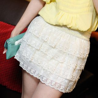 59 Seconds - Beaded Tiered Lace Miniskirt