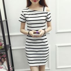 AstroSwirl - Short-Sleeve Striped Mini Sheath Dress