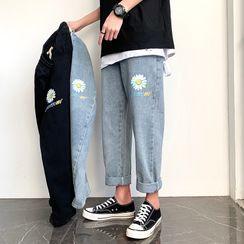 SHIN Shop - Flower Print Straight-Cut Cropped Jeans