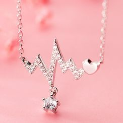 A'ROCH(エーロック) - 925 Sterling Silver Rhinestone Heartbeat Pendant Necklace