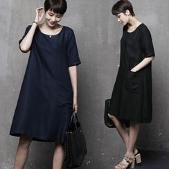 HALUMAYBE - Pocket-Detail Linen Blend A-Line Dress