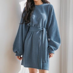 Envy Look - Bishop-Sleeve Knit Dress with Sash