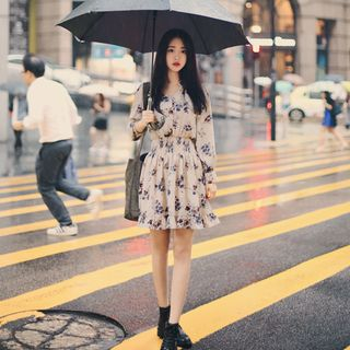 Angel Shine - Long-Sleeved Floral Print Chiffon Dress