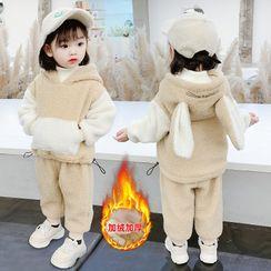 ChibiJia - 小童套裝: 飾耳朵抓毛連帽衫 + 運動褲