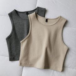 mochigome - Plain Cropped Tank Top