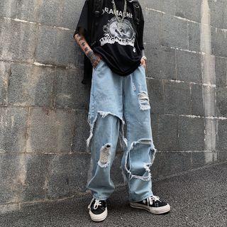 Koiyua - Distressed Wide-Leg Jeans