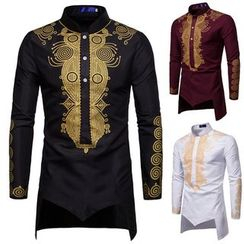 Sheck - Long Sleeve Stand Collar Print Shirt