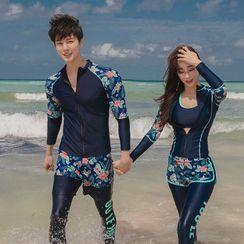Salanghae - Couple Matching Long Sleeve Rashguard / Bra Top / Swim Pants / Beach Shorts / Skirt / Bottom / Set