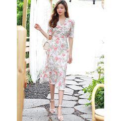 Styleonme - Ruffle-Hem Floral Long Chiffon Dress