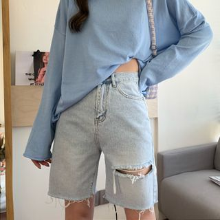 Momoko - Washed Ripped Denim Shorts