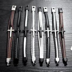 Tenri - Cross Braided Leather Layered Bracelet