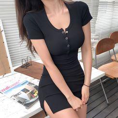 Themis - Short-Sleeve Sheath Mini Dress