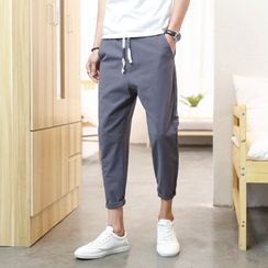 KOKAY - Plain Tapered Cropped Pants
