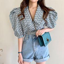 Coris - Printed Puff-Sleeve Blouse