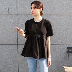 Seoul Fashion(ソウルファッション) - Plain Cotton Babydoll Top